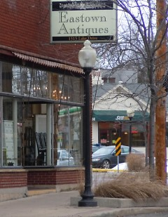 Eastown Antiques is located at the corner of Lake Drive and Wealthy.