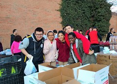 Students pose for a photo while volunteering at Union's Feb. 27 Mobile Pantry.