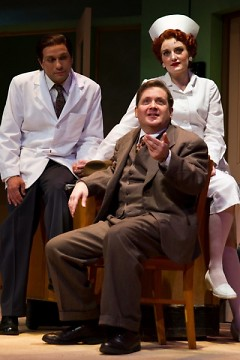 A few actors in costume. From left: Dr. Sanderson (Joe Worth), Mr. Dowd (Steven J. Anderson) and Nurse Kelly (Rebekah Hughes)