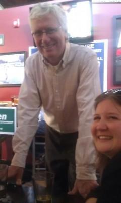 Talen meeting with Politics Beat co-leader Nancy Finney at a recent fundraiser