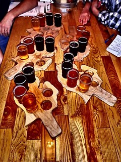 Samplers at The Mitten Brewing Company tour