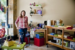 Angela Topp in her store at 947 Wealthy St. S.E.