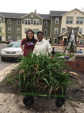 DP Volunteer Coordinator Amy Henderson and DP Property Manager Roslyn Shackelford after Property Days at Reflections Apartments.
