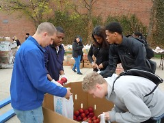 Students and local church members volunteer at Union High School's monthly Mobile Pantries.
