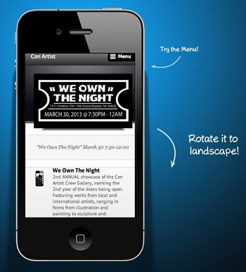 """Preview of """"We Own the Night"""" within the web app"""