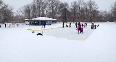 Neighbors enjoying the ice rink at Wilcox Park