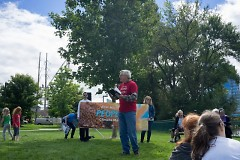George Heartwell at the Mayor's Grand River Cleanup and Climate March