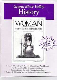 "Cover picture of a 1908 magazine titled ""WOMAN"", once published by early Grand Rapids feminists."