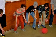Students playing gaga ball during free time