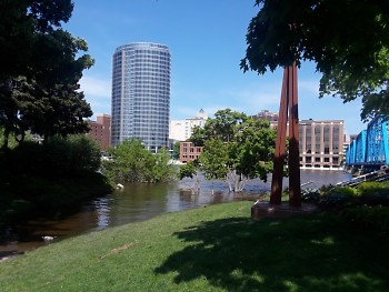 The Grand River in downtown Grand Rapids on May 24, 2020.