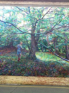 """Young Oak Reaching"", painting by Tony Hendrick, featured at Coit Creative Arts Academy"