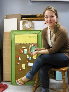 Rebecca with her magnets that she will sell at the Avenue for the Arts Market this summer.