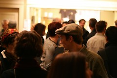 Mingling in the Wealthy Theatre main lobby before the movie