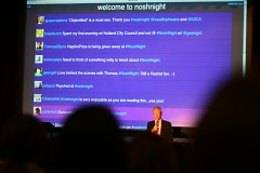 Thomas Overthun during the Q&A portion in front of the live Twitter feed about NoshNight