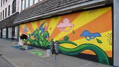 Erkfitz's mural in progress