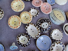 Paper Peacock, Handmade ceramic buttons!
